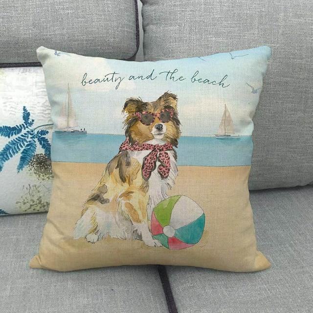 Beauty and the Beach Rough Collie Cushion CoverCushion CoverRough Collie - Beauty and the Beach