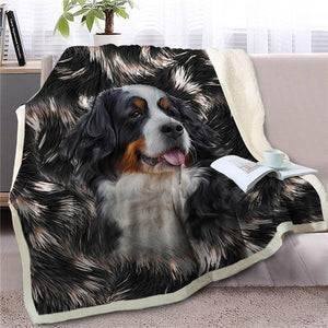 Bernese Mountain Dog Love Soft Warm Fleece BlanketBlanketBernese Mountain DogSmall