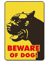 Load image into Gallery viewer, Beware of Bull Terrier Tin Sign Board - Series 1Sign BoardAmerican Pit Bull - Beware of DogOne Size