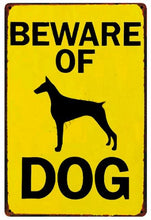 Load image into Gallery viewer, Beware of Bull Terrier Tin Sign Board - Series 1Sign BoardDoberman Silhouette - Beware of DogOne Size