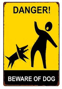 Beware of Bull Terrier Tin Sign Board - Series 1Sign BoardDog Biting Man - Danger Beware of DogOne Size