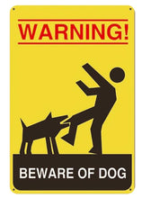 Load image into Gallery viewer, Beware of Bull Terrier Tin Sign Board - Series 1Sign BoardDog Biting Man - Warning Beware of DogOne Size