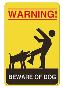 Beware of Bull Terrier Tin Sign Board - Series 1Sign BoardDog Biting Man - Warning Beware of DogOne Size