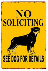 Beware of Rottweiler Tin Sign Board - Series 1Sign BoardRottweiler - No Soliciting See Dog for DetailsOne Size