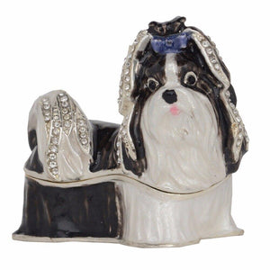 Black and White Shih Tzu Love Small Jewellery Box FigurineHome Decor