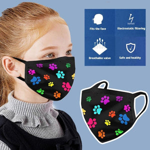 Black with Colourful Paw Prints Face Mask for Dog LoversAccessories
