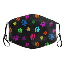 Load image into Gallery viewer, Black with Colourful Paw Prints Face Mask for Dog LoversAccessoriesFor Adults