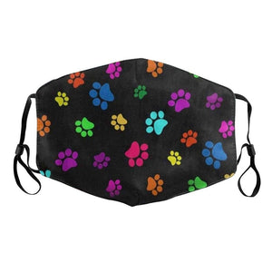 Black with Colourful Paw Prints Face Mask for Dog LoversAccessoriesFor Adults