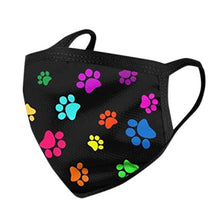 Load image into Gallery viewer, Black with Colourful Paw Prints Face Mask for Dog LoversAccessoriesFor Kids