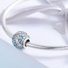 Load image into Gallery viewer, Blue Paw and Bone Studded Silver Charm BeadDog Themed Jewellery