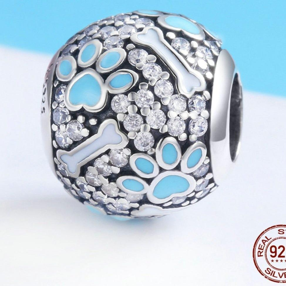 Blue Paw and Bone Studded Silver Charm BeadDog Themed Jewellery