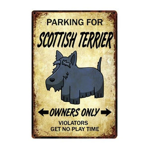 Border Collie Love Reserved Parking Sign BoardCarScottish TerrierOne Size