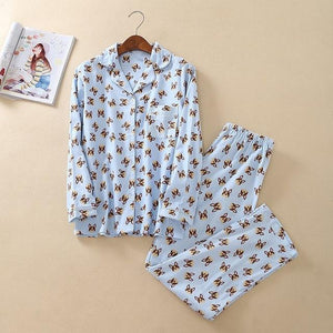 Boston Terrier / French Bulldog Love PajamasPajamasBlueL