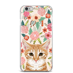 Boston Terrier in Bloom iPhone CaseCell Phone AccessoriesCat - OrangeFor 5 5S SE
