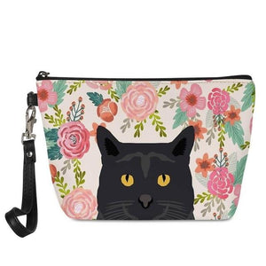 Boston Terrier in Bloom Make Up BagAccessoriesCat - Black