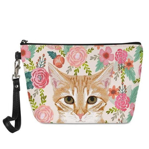 Boston Terrier in Bloom Make Up BagAccessoriesCat - Orange