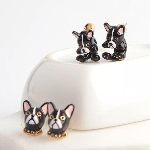 Boston Terrier Love Enamel EarringsJewellery