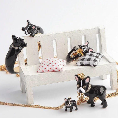 Boston Terrier Jewellery Set with a Boston Terrier Bangle, Earrings, Ring and Necklaces