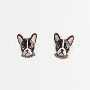 Boston Terrier Love Enamel Jewellery Set - Earrings, Pendant, Ring & BangleJewelleryEarrings - Only Face