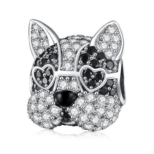 Boston Terrier Love Silver Charm BeadDog Themed Jewellery