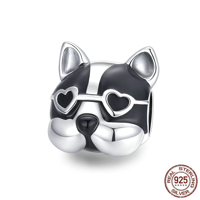 Boston Terrier Love Silver Charm BeadDog Themed JewelleryOption 1