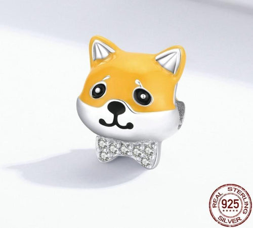 Bow-tie Shiba Inu Love Silver Charm BeadDog Themed Jewellery