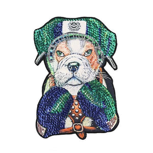 "Boxing English Bulldog Embroidered Sew-on PatchPatch11.6"" x 7.9"""