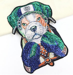 Boxing English Bulldog Embroidered Sew-on PatchApparel