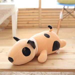 Bull Terrier Love Huggable Stuffed Animal Plush Toy PillowHome DecorMediumDark Khaki