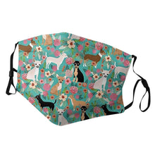 Load image into Gallery viewer, Chihuahuas in Bloom Cotton Face MaskAccessories