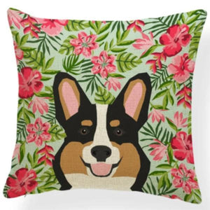 Corgi in Bloom Cushion Cover - Series 7Cushion CoverOne SizeCorgi - in Bloom