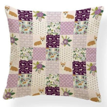 Load image into Gallery viewer, Corgi in Bloom Cushion Cover - Series 7Cushion CoverOne SizeCorgi - Purple Quit