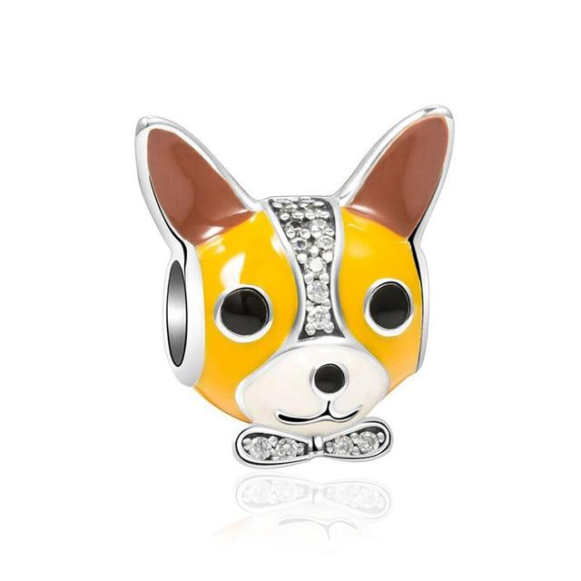 Corgi Love Silver Charm BeadDog Themed JewelleryCorgi