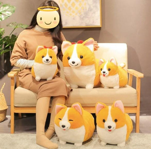 Corgis in a Row Stuffed Animal Plush Toys (Small to Giant Size)Soft Toy