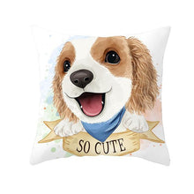 Load image into Gallery viewer, Cute as Candy Golden Retrievers Cushion CoversCushion CoverCavalier King Charles Spaniel - Blue Scarf