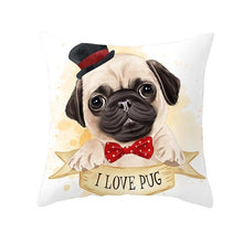Load image into Gallery viewer, Cute as Candy Golden Retrievers Cushion CoversCushion CoverPug - Bowtie and Top Hat