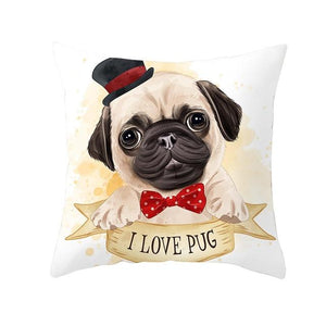 Cute as Candy Golden Retrievers Cushion CoversCushion CoverPug - Bowtie and Top Hat