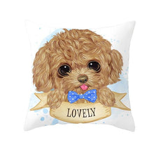 Load image into Gallery viewer, Cute as Candy Golden Retrievers Cushion CoversCushion CoverToy Poodle - Blue Bowtie