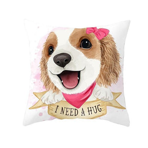 Cute as Candy Pugs Cushion CoversCushion CoverCavalier King Charles Spaniel - Pink Scarf & Headclip