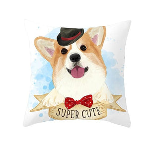 Cute as Candy Pugs Cushion CoversCushion CoverCorgi - Bowtie and Top Hat