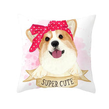 Load image into Gallery viewer, Cute as Candy Pugs Cushion CoversCushion CoverCorgi - Pink Headscarf