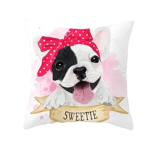 Cute as Candy Pugs Cushion CoversCushion CoverFrench Bulldog - Red Headscarf Bow