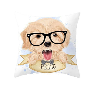 Cute as Candy Pugs Cushion CoversCushion CoverGolden Retriever - Black Glasses