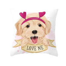 Load image into Gallery viewer, Cute as Candy Pugs Cushion CoversCushion CoverGolden Retriever - Pink Headband with Hearts