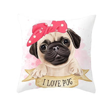 Load image into Gallery viewer, Cute as Candy Pugs Cushion CoversCushion CoverPug - Pink Headscarf Bow