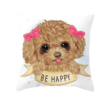 Load image into Gallery viewer, Cute as Candy Pugs Cushion CoversCushion CoverToy Poodle - Pink Hairclips
