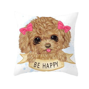 Cute as Candy Pugs Cushion CoversCushion CoverToy Poodle - Pink Hairclips