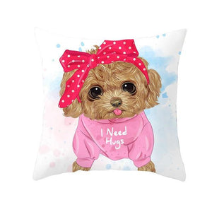 Cute as Candy Pugs Cushion CoversCushion CoverToy Poodle - Pink Headband
