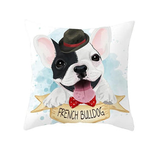 Cute as Candy Toy Poodle Cushion CoversCushion CoverFrench Bulldog - Bowtie and Hat