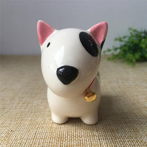 Cute Ceramic Car Dashboard / Office Desk Ornament for Dog LoversHome DecorBull Terrier